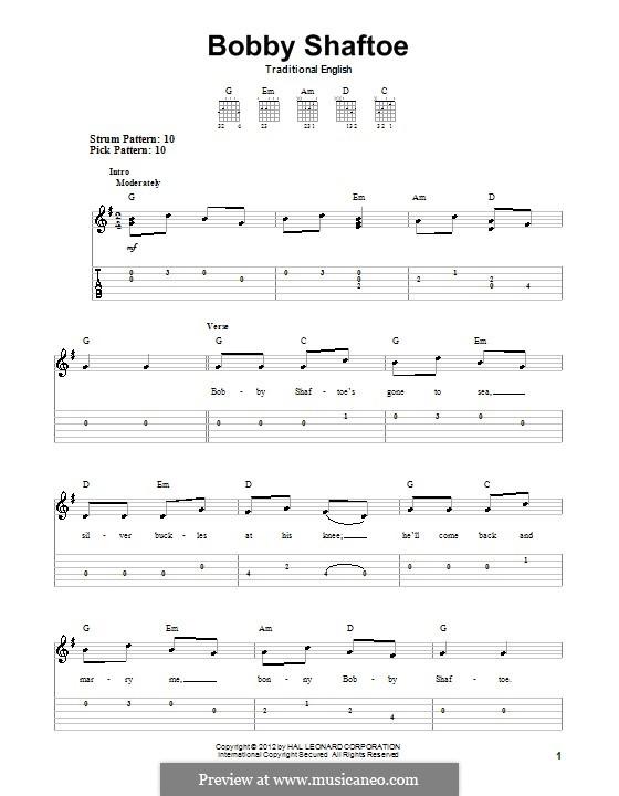 Bobby Shafto: Гитарная табулатура by folklore