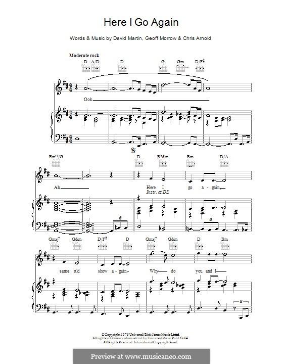 Here I Go Again (from Guys and Dolls): Для голоса и фортепиано (или гитары) by Chris Arnold, David Martin, Geoff Morrow