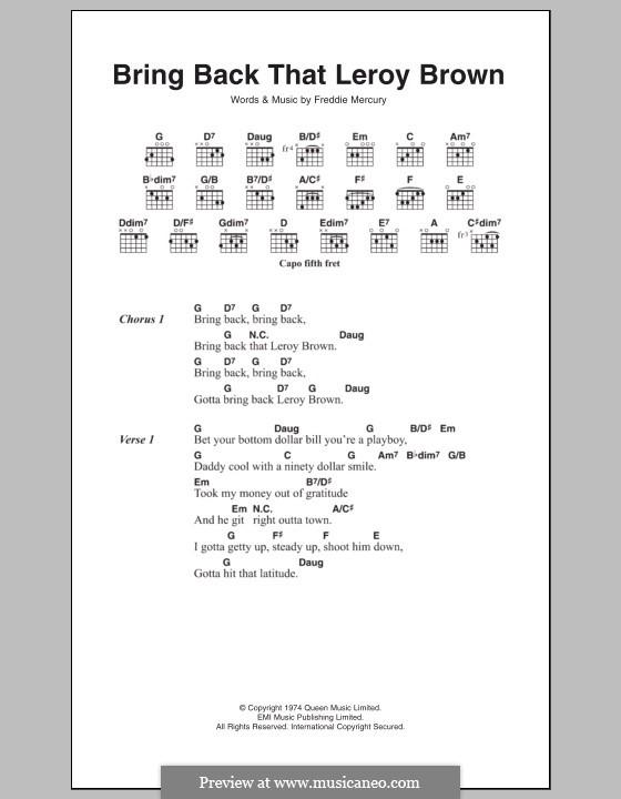 Bring Back That Leroy Brown (Queen): Текст, аккорды by Freddie Mercury