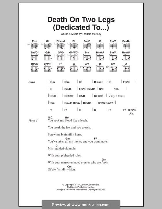 Death on Two Legs (Dedicated To...): Текст, аккорды by Freddie Mercury