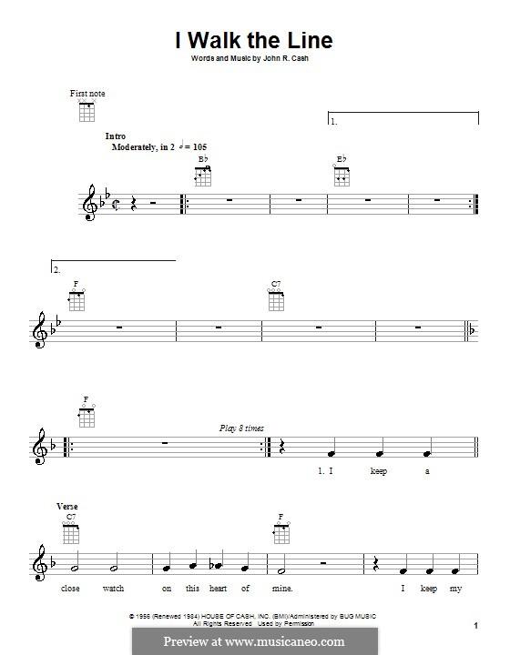 I Walk the Line: Для укулеле by Johnny Cash