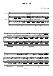 Аве Мария, для двух инструментов, D.839 Op.52 No.6: Для блокфлейты и органа by Франц Шуберт