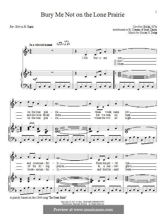 Bury Me Not on the Lone Prairie: Для голоса и фортепиано by Ossian N. Dodge