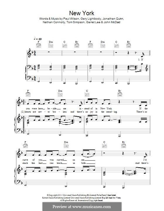 New York (Snow Patrol): Для голоса и фортепиано (или гитары) by Garret Lee, Gary Lightbody, Jonathan Quinn, Nathan Connolly, Paul Wilson, Tom Simpson, John McDaid