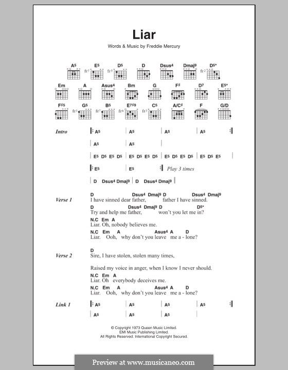 Liar (Queen): Текст, аккорды by Freddie Mercury