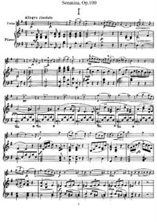 Сонатина для скрипки и фортепиано соль мажор, B.183 Op.100: Партитура by Антонин Дворжак