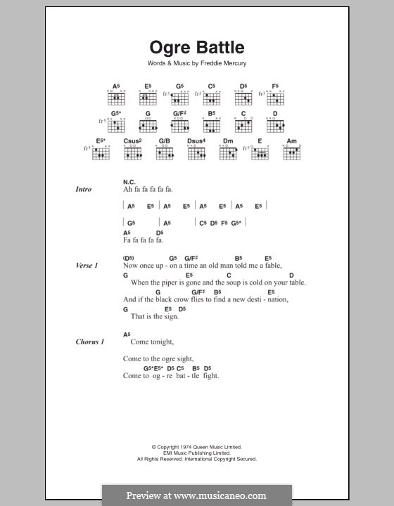 Ogre Battle (Queen): Текст, аккорды by Freddie Mercury