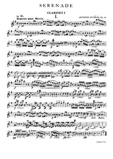 Серенада ре минор, B.77 Op.44: Партия I кларнета by Антонин Дворжак