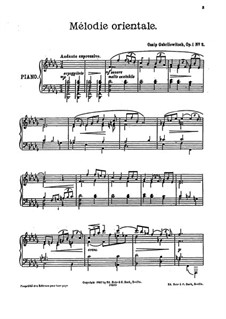 Пять пьес для фортепиано, Op.1: No.2 Mélodie orientale by Осип Габрилович