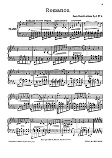 Пять пьес для фортепиано, Op.1: No.4 Romance by Осип Габрилович