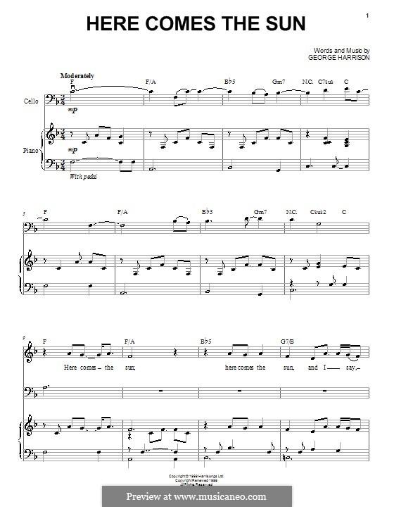 Here Comes the Sun (The Beatles): Для голоса и фортепиано (или гитары) by George Harrison
