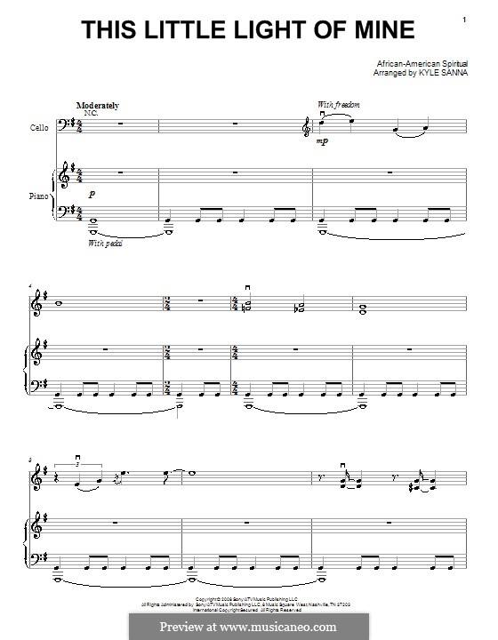 This Little Light of Mine: Для голоса и фортепиано или гитары (ноты высокого качества) by folklore
