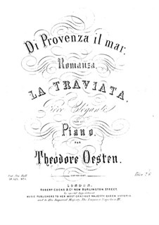 Романс на тему из оперы 'Травиата' Верди, Op.125 No.1: Для одного исполнителя by Теодор Остен