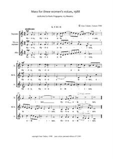 Mass for Three Voices: Партитура by Joan Yakkey