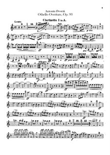 Отелло, B.174 Op.93: Партии кларнетов by Антонин Дворжак