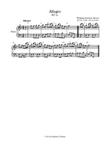 Allegro in F Major, K.1c: Allegro in F Major by Вольфганг Амадей Моцарт