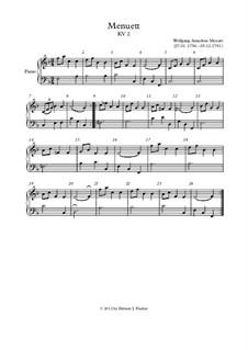 Менуэт для фортепиано фа мажор, K.2: Для одного исполнителя by Вольфганг Амадей Моцарт