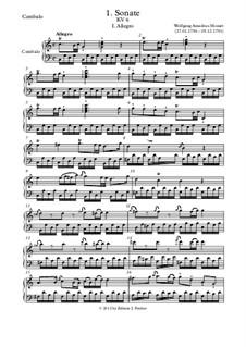 Соната для скрипки и фортепиано No.1 до мажор, K.6: Партия фортепиано (или клавесина) by Вольфганг Амадей Моцарт