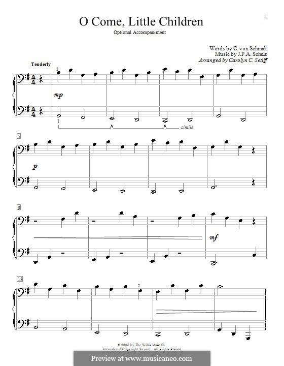 O Come, Little Children: Для фортепиано в 4 руки by Иоганн Авраам Шульц