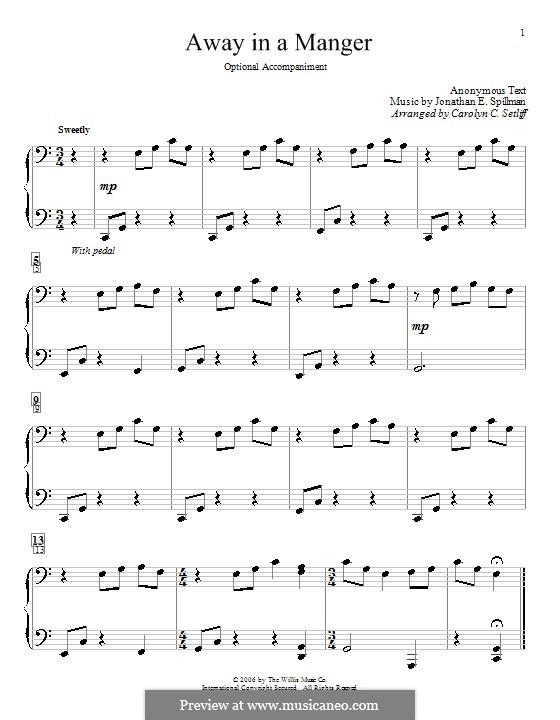 Away in a Manger: Для фортепиано by Джонатан Эдвардс Спилман