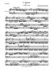 Соната для скрипки и фортепиано ре мажор, K.7: Партия фортепиано (или клавесина) by Вольфганг Амадей Моцарт