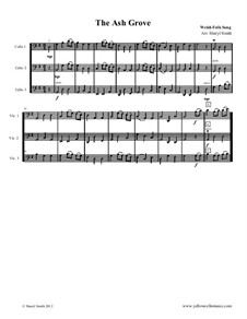 The Ash Grove: For three advanced beginner cellos by folklore