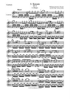 Соната для скрипки и фортепиано No.3 си-бемоль мажор, K.8: Партия фортепиано (или клавесина) by Вольфганг Амадей Моцарт