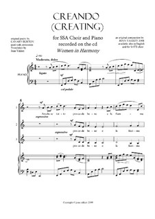 Creating: Contemporary SSA and piano by Joan Yakkey