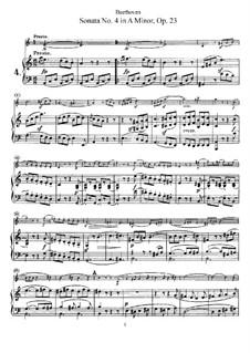 Соната для скрипки и фортепиано No.4, Op.23: Партитура by Людвиг ван Бетховен