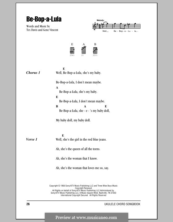 Be-Bop-A-Lula: Для укулеле by Gene Vincent, Sheriff Tex Davis