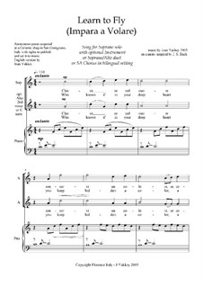 Learn to Fly - accompanied song for Soloist or SA choir: Learn to Fly - accompanied song for Soloist or SA choir by Joan Yakkey