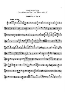 Концерт для фортепиано с оркестром No.3, Op.37: Партии первого и второго кларнетов by Людвиг ван Бетховен