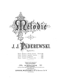 Chants du Voyageur, Op.8: No.3 Mélodie, for violin and piano by Игнацы Ян Падеревский