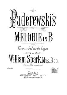 Chants du Voyageur, Op.8: No.3 Mélodie, for organ by Игнацы Ян Падеревский