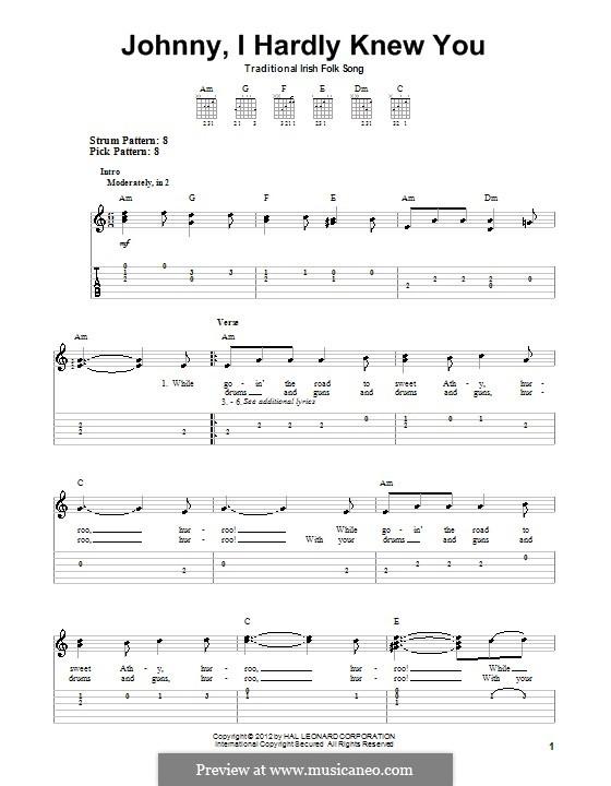 Johnny, I Hardly Knew You: Гитарная табулатура by folklore
