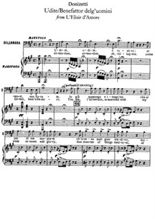 Любовный напиток: Udite, udite, o rustici, for voice and piano by Гаэтано Доницетти