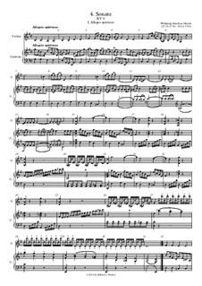 Соната для скрипки и фортепиано No.4 соль мажор, K.9: Партитура большого формата by Вольфганг Амадей Моцарт
