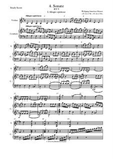 Соната для скрипки и фортепиано No.4 соль мажор, K.9: Партитура by Вольфганг Амадей Моцарт