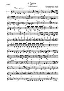 Соната для скрипки и фортепиано No.4 соль мажор, K.9: Сольная партия by Вольфганг Амадей Моцарт