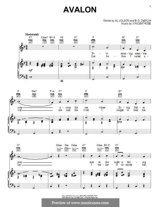 Avalon (Al Jolson): Для голоса и фортепиано или гитары by Vincent Rose