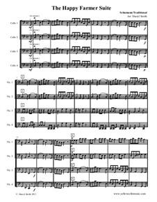 No.10 Веселый крестьянин: For four beginner cellos (cello quartet) by Роберт Шуман