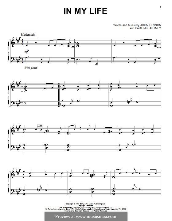In My Life (The Beatles): Для фортепиано by John Lennon, Paul McCartney