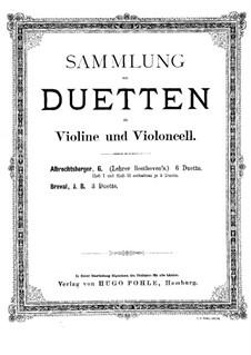 Шесть дуэтов для скрипки и виолончели: Партия скрипки by Иоганн Георг Альбрехтсбергер
