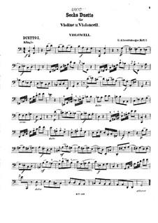 Шесть дуэтов для скрипки и виолончели: Партия виолончели by Иоганн Георг Альбрехтсбергер