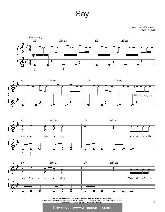 Say: Для фортепиано by John Mayer
