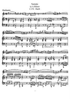 Соната для флейты и клавесина ля минор, H 555 Wq 128: Партитура, сольная партия by Карл Филипп Эммануил Бах
