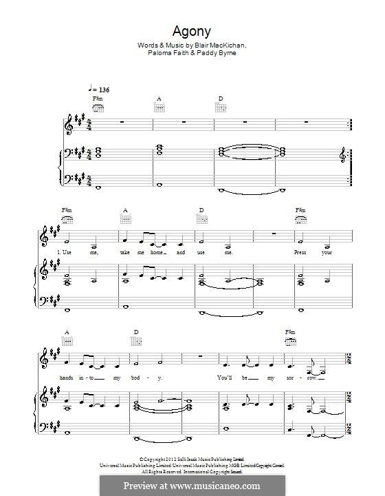 Agony: Для голоса и фортепиано (или гитары) by Blair MacKichan, Paddy Byrne, Paloma Faith