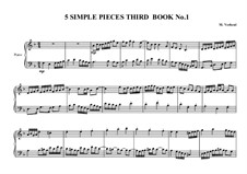 5 Simple pieces for piano: Third book, No.1, MVWV 690 by Maurice Verheul