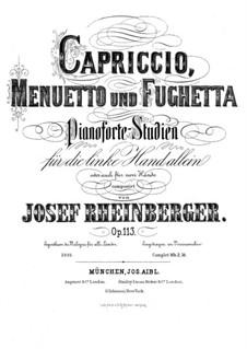 Этюды для фортепиано (для левой руки), Op.113: Тетрадь I (No.1-3) by Йозеф Габриэль Райнбергер