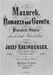 Этюды для фортепиано (для левой руки), Op.113: Тетрадь II (No.4-6) by Йозеф Габриэль Райнбергер